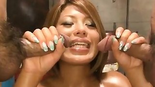 Staggering, Aiki Kurosawa, amazes with pussy and mouth