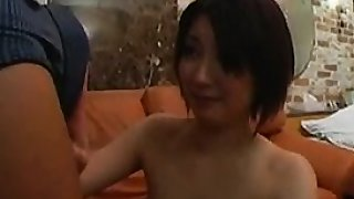 Skinny Asian gal gets presented a dick she can't refuse to