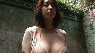 Ayumi turn up the sound - beige bikini showering