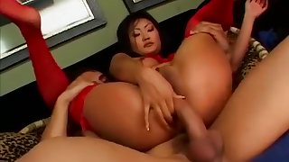 submissive young girl with perfect tiny tits chokes on dick before anal