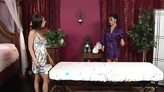 Asa Akira and Tessa Taylor fucks on the table