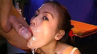 Annette is staying with wide-opened mouth