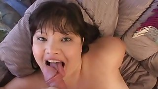 Chubby Asian model is getting a nice facial load