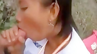 female student sucking cock outside of school