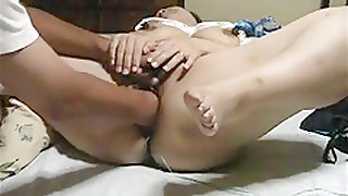 Japanese wife gets fisted and big dildo fuck.
