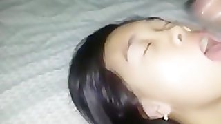 Asian cutie makes a sextape with her black bf