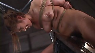 Slutty Asian chick in a hardcore insane BDSM