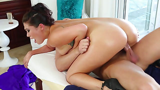 Tattooed Asian babe London Keyes is masturbating