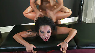 Asa Akira is riding on Keiran Lee's dick after massage