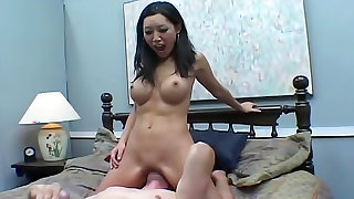Fake tits Asian sits on his face