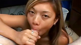 Young and wonderful cutie knows a lot about blowjob