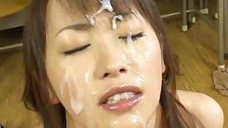 Japanese cutie covered in jizz