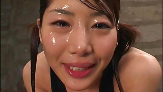 Asian doll creamed in bukkake session