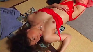 Asian babe in red Remi Matsukawa fucks in her mouth