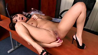 Secretary anal dildo sex in the office