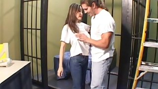 Beauty brunette is being fucked in the jail