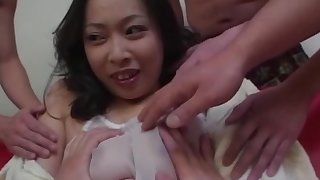 Asian babe is getting sperm on her face