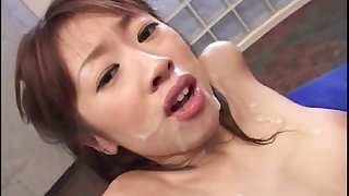 Gangbang with a pretty slender Asian slut