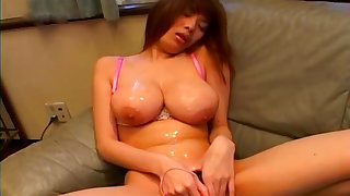 Japanese with hairy pussy Momoka is rubbing her pussy