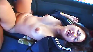 Slender brunette Misa Kashiwagi being fucked in the car
