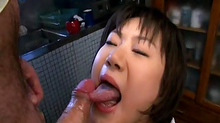 Petite chubby Asian gets cum in her mouth