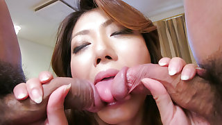 Reina Nishio perky tits beauty dealing two cocks on cam