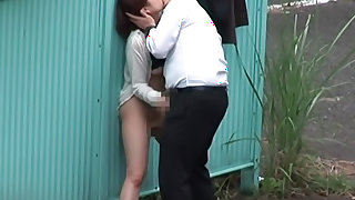 Shameless Asian couple fucking outdoor caught on voyeur cam