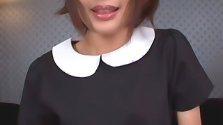 Hot maid in stockings Yuuki Natsume rides his cock