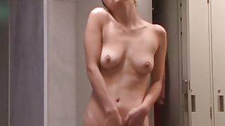 Girl plays with her creamy pussy while voyeur is watching her