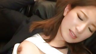 Impressive japanese office lady is sucking big meat stick on the sofa