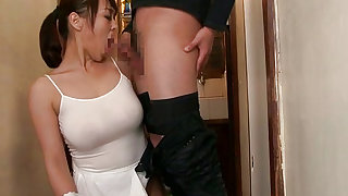 Pigtailed japanese maid with perky boobs is giving blowjob