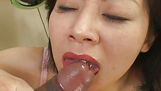 Appealing and hot japanese  is sucking big penis