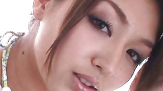 Horny and beauty japanese lady is sucking thick dick