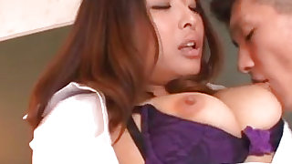 Charming lady with good mood is giving deep blowjob