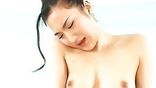 Japanese doll with petite body having passionate sex in the bed