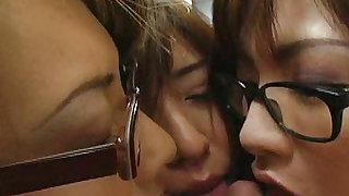 Lovely and nasty japanese dolls are giving real blowjob