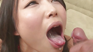 Nasty doll with juicy lips is sucking his strong dick
