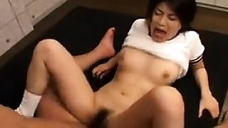 Japanese cutie hairy cunt toyed