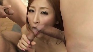Powerful gangbang sex with slim Reira Aisaki